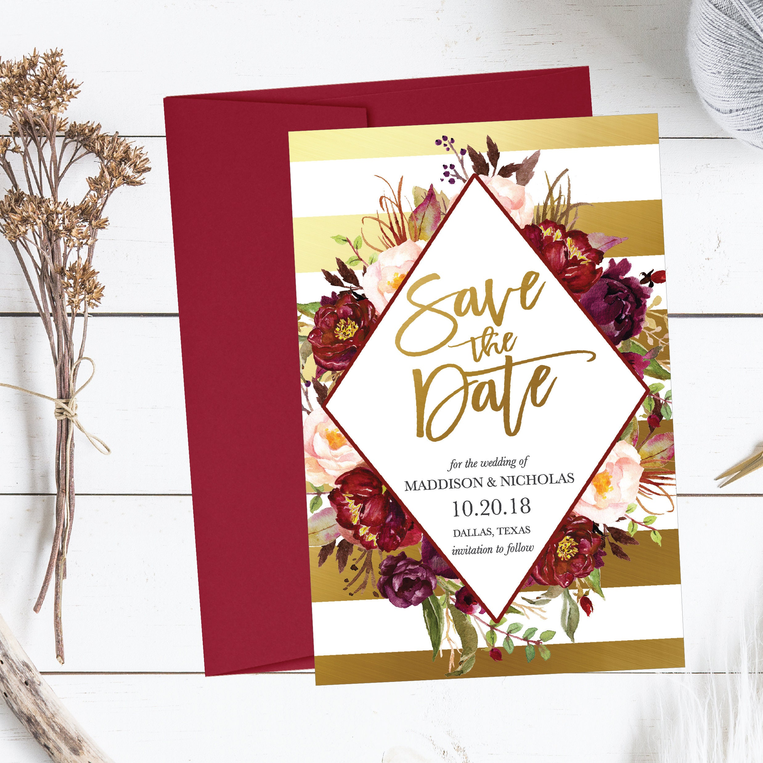 Printable Wedding Save The Date Cards Editable Template Gold | Etsy