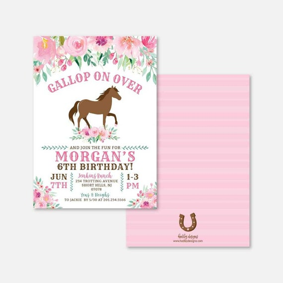 Horse Kids Party Invitation Template Horse Party Supplies | Etsy