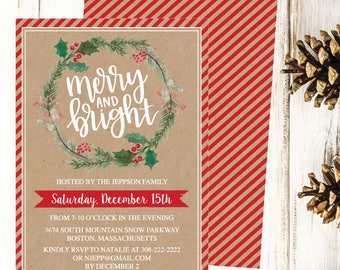 Christmas Party Invitation Template, Rustic Kraft Wreath Winter Printable Invite, Editable Text Instant Download DIY Holiday Invite PDF