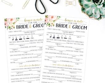 Wedding Advice Mad Libs Wedding Advice Cards For The Bride and Groom Printable Wedding Advice Card For The Couple Advice For The Bride To Be