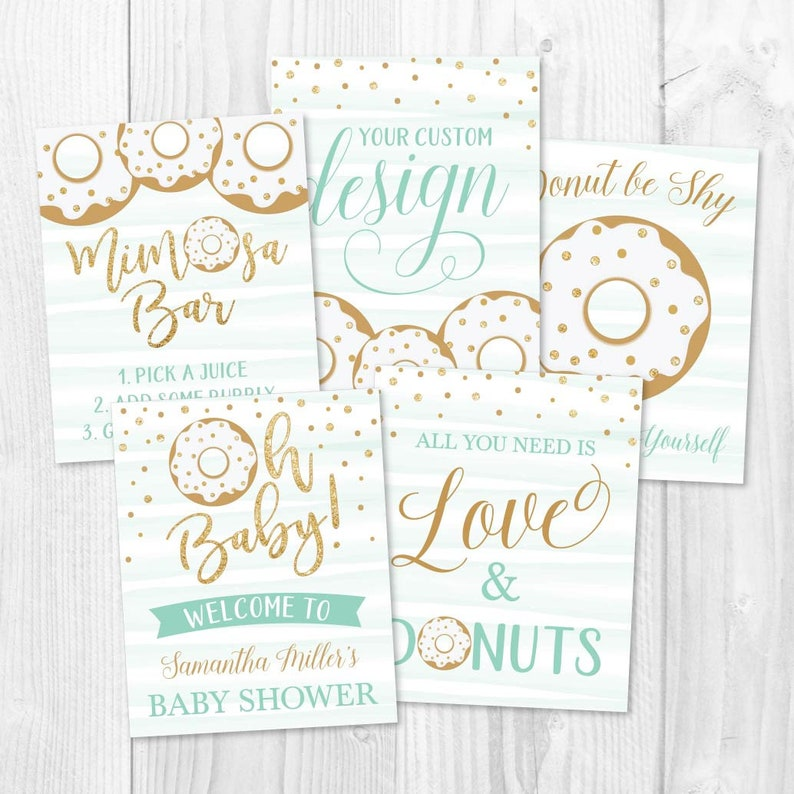 Sign Printable Baby Shower Sign Baby Shower Sign Package Matching Baby Shower Signs Donut Baby Shower Sign Set Templates