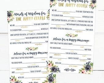 Wedding Mad Lib Printable, Wedding Madlibs, Funny Wedding Advice Cards, Advice Card Template For Bridal Shower, Advice For The Bride Cards