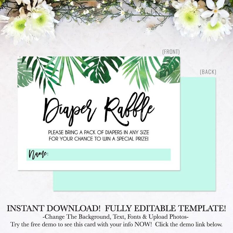 Instant Download Diaper Raffle Printable Diaper Raffle Template Tropical Baby Shower Teal Diaper Raffle Cards Diaper Raffle Download