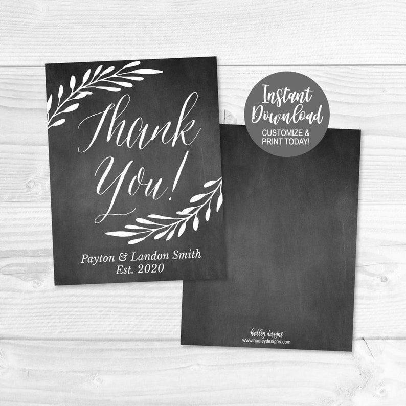 DIY Thank You Card Template Thank You Cards for Bridal Shower or Baby Wedding Thank You Cards Online Thank You Cards Wedding Online