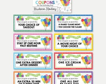 Printable Birthday Coupon Template, Editable Gift Voucher Idea, DIY Present, Personalized Love Coupon for Boys Girls & Kids Happy Bday Party