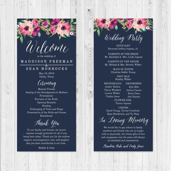 dark pink floral wedding program wedding programs designs etsy