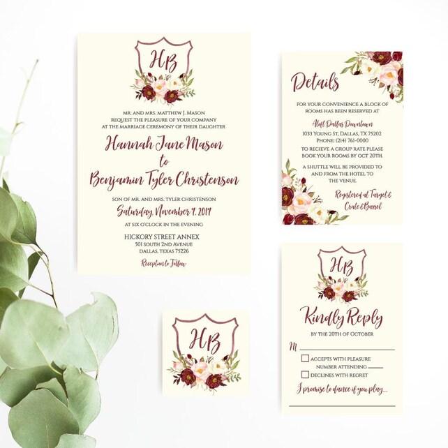 Printable Wedding Invitations With RSVP Floral Invitation PDF Downloadable Templates DIY
