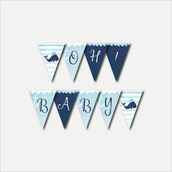Whale Nautical Baby Shower Banner Template Baby Shower Etsy