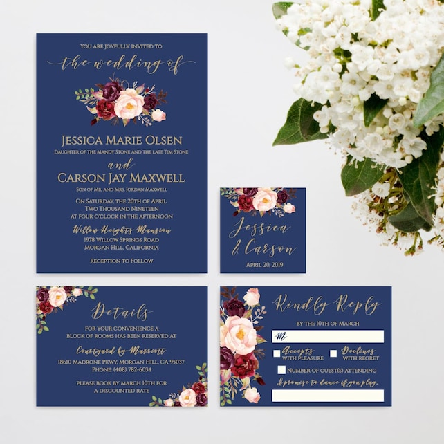 Gold Navy And Floral Wedding Invite Suite Online Wedding Invite