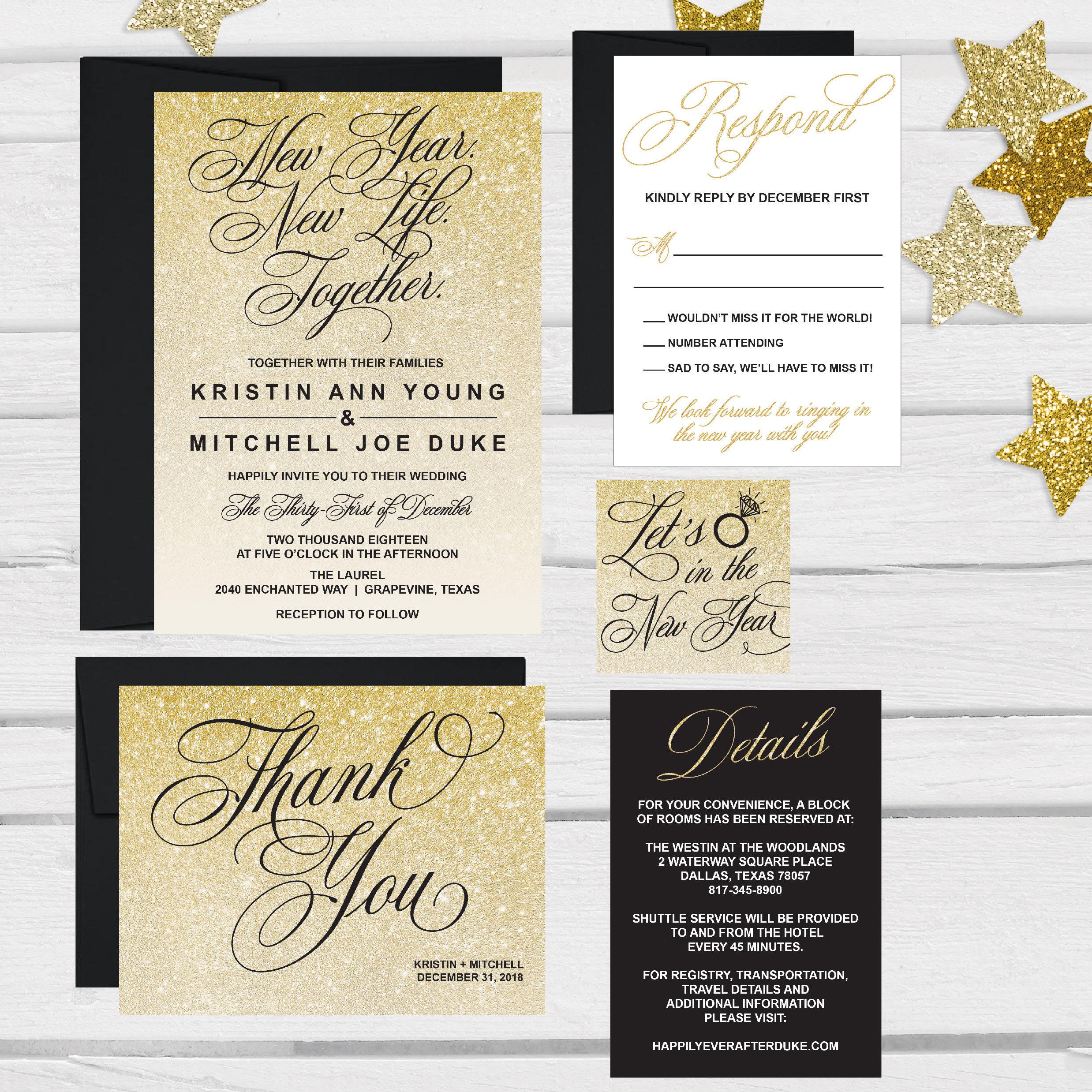 Elegant New Years Eve Wedding Invitation Template Glitter