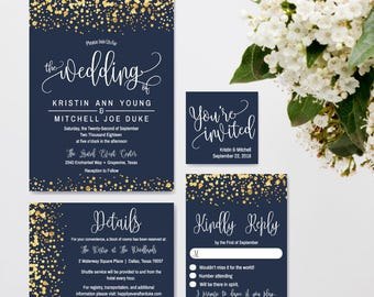 Navy and Gold Glitter Dots Wedding Invitation Suite, Online Wedding Invite Templates, Affordable Wedding Invitations Package, Hadley Designs