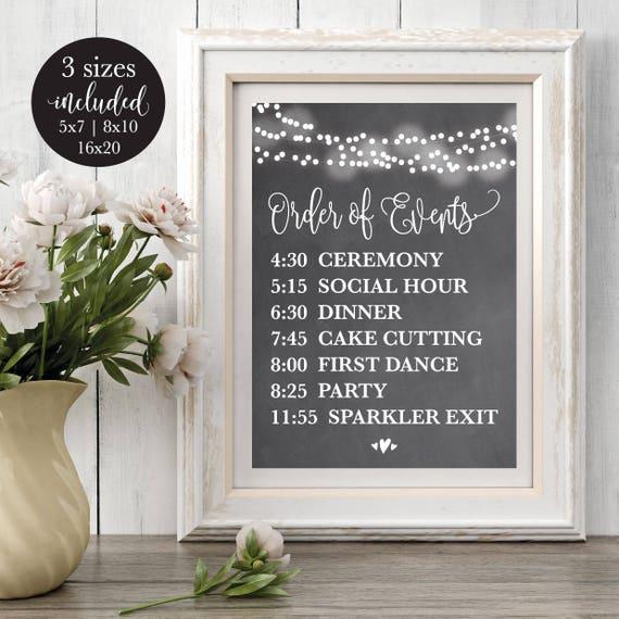Chalk Order Of Events Editable Wedding Sign Printable Wedding Etsy