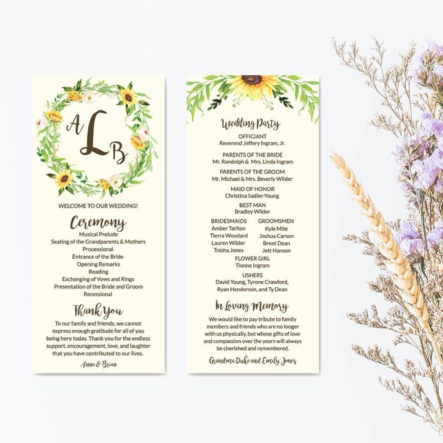 wedding program thank you template wedding program ideas wording printable wedding ceremony programs