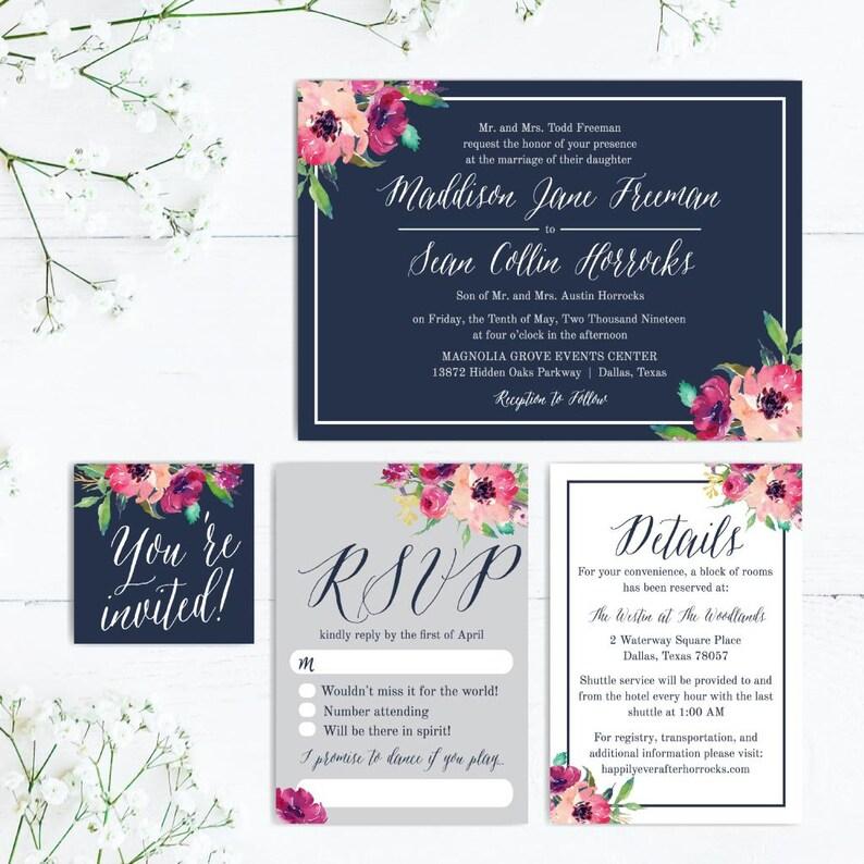 DIY Wedding Invitations Printable Wedding Invite Download Inexpensive Wedding Invitations With RSVP/'s Affordable Wedding Invitation Suite