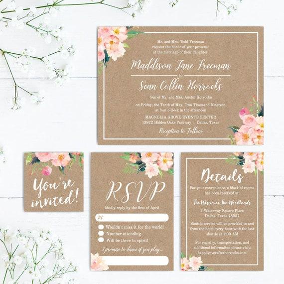 Wedding Invitations With Rsvp Online Wedding Invitations Etsy