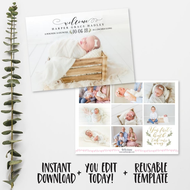 JPEG Photo Birth Announcement Template Personalized Birth Announcement Digital Baby Birth Announcement Baby Birth Announcement Printable