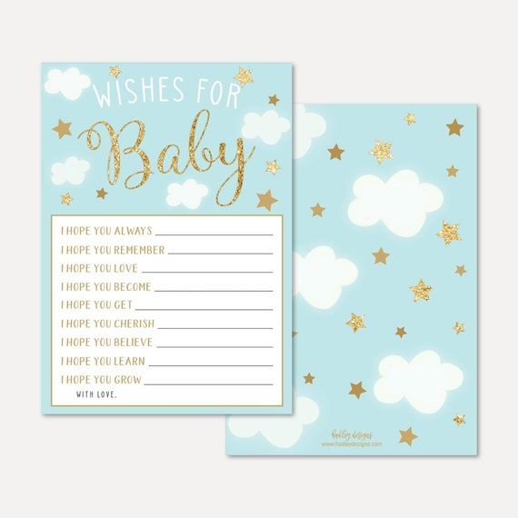 Angel Boy Baby Shower Wishes Card Template Baby Well Wishes Etsy