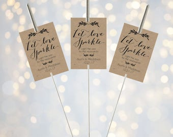 Printable Let Love Sparkle Tags for Sparklers, Rustic Kraft Wedding Sparkler Holder Tag, Personalized Exit Send Off Sleeves DIY PDF Template