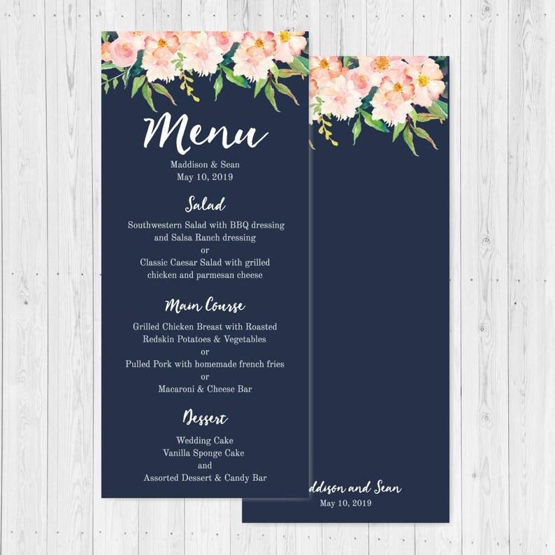 Menu Card Template Wedding Menu Template with Name Wedding Menu Cards Download Printable Wedding Menu Template Wedding Menu Cheap PDF