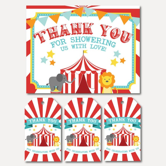 Thank You Card and Favor Tag Bundle Favor Tag Bundle Baby Thanks Football Baby Shower Thank You Card and Favor Tags Templates