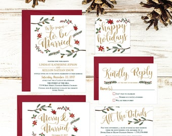 Christmas Wedding Invitation Template, Winter Rustic Printable Invite Suite, Editable Text Instant Download DIY Holiday Invites Set PDF