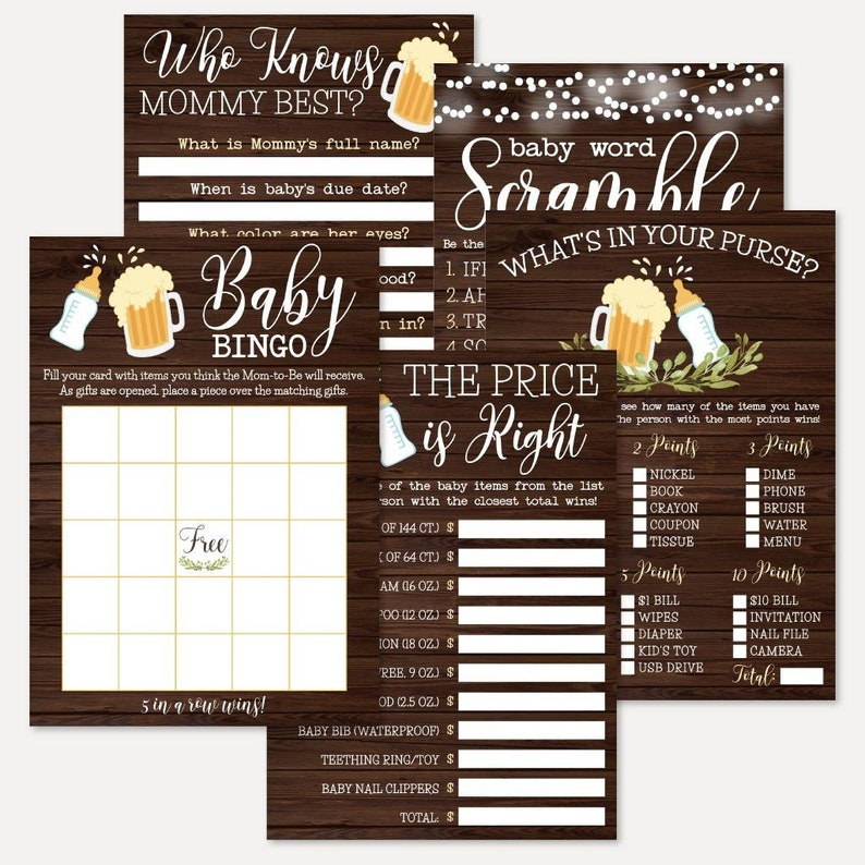 Who Knows Mommy Best Word Scramble Whats In Your Purse A Baby Is Brewing Baby Shower Game Set Templates -Bingo The Price Is Right