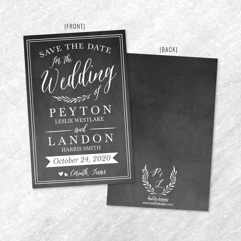 Cheap Online Wedding Save The Date Card Save The Date Template with Photo Chalk Simple Greenery Wedding Save The Date Template