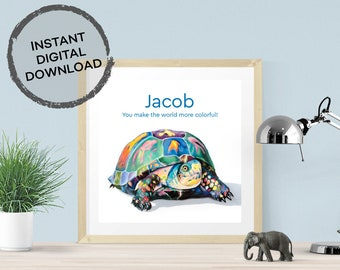 Perfect personalized gift for boy/'s room digital print with elephant Jacob name art