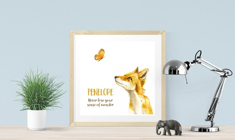 digital download with fox forest animal Penelope name art Perfect personalized gift for child/'s room