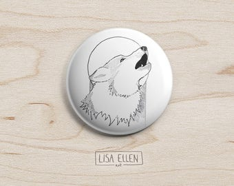 Wolf and Moon Badge - Illustration Pinback Button