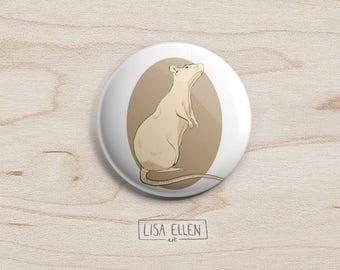Rat Badge - Illustration Pinback Button