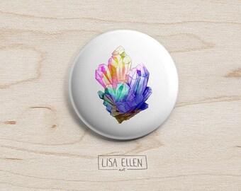 Rainbow Crystal Badge - Illustration Pinback Button