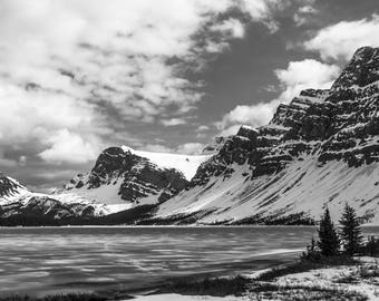 Canadian Landscape Photography, Rocky Mountain Photography, Mountain Nature Print, Black and White on Metallic Paper; Jasper Alberta, Canada