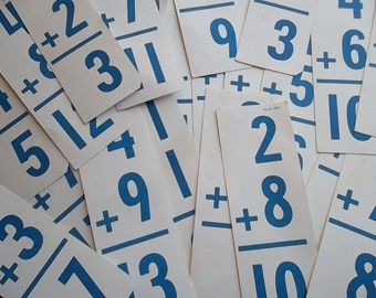 Math flash cards, addition, Vintage