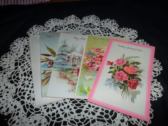 Vintage Birthday Greeting Cards 4 Different Cards Etsy
