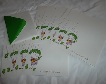 "Vintage Stationery and Matching Envelopes, Set of 10 Decorated Sheets and 4 Envelopes, ""Dropping in With A Note."" Sangamon"