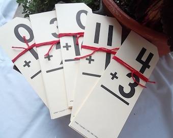 Vintage Beka Book Math Flash Cards, Addition,  1992, Set of 5 Random Cards