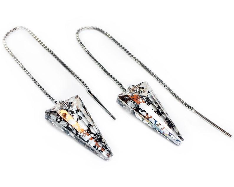 Threader Earrings Chain Threads Ear Threaders Spike Earrings Needle Earrings Gold Thread Jewelry Edgy Earrings Weight Earrings Weights