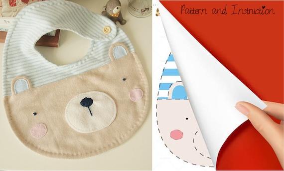 Diy Crafts Soft Baby Bib Cute Bear Baby Infant Bib Pdf Sewing Patterns Instructions Instant Download Printable