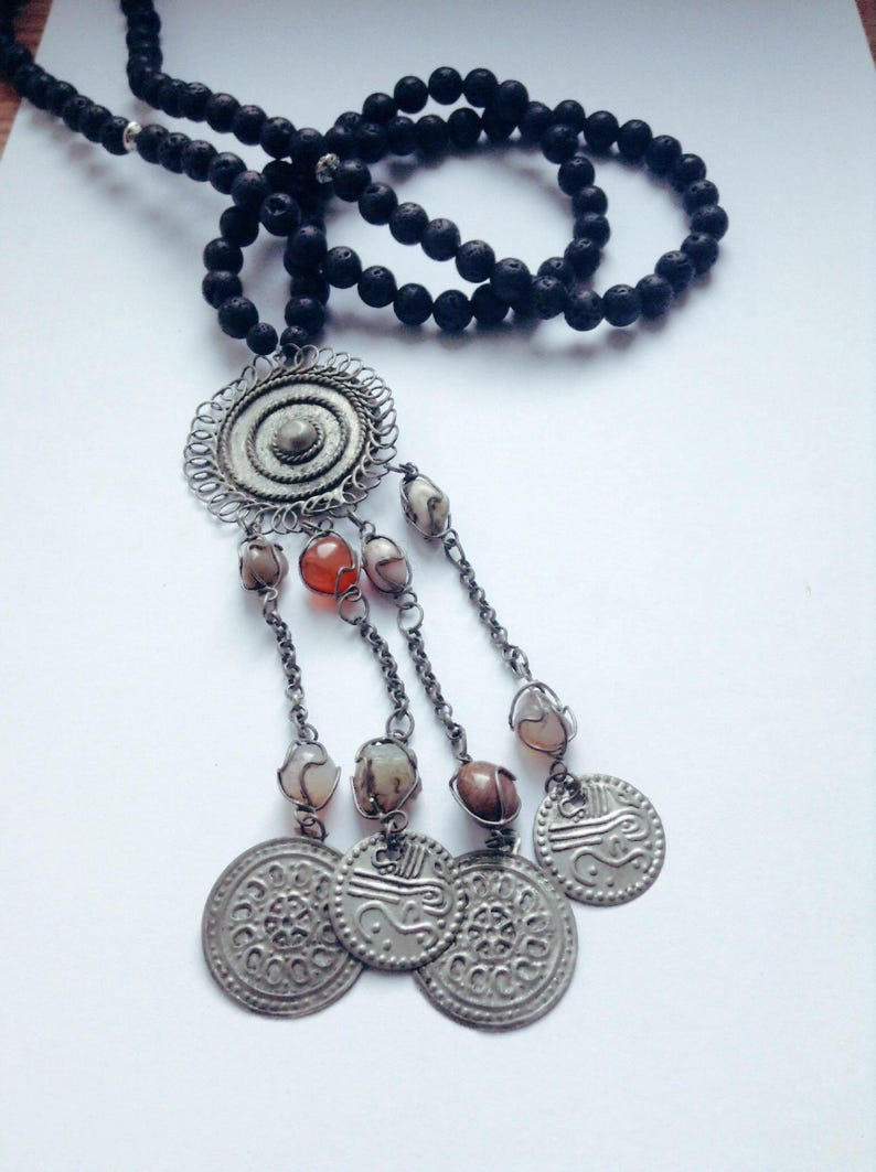 lava stone Bohemia  Hippie  gypsy  Tribal  Tibetan silver  ethnic  vintage pendant Necklace boho ottoman pendant