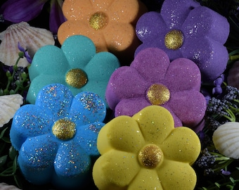 Bath Bombs***Set of Six***4 Ounces Each***Flowers***Foaming***Colored Water***Pick Your Color***Pick Your Fragrance***Superior Quality