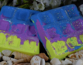 Bath Bombs***Set of 4***6 Ounces Each***Fluorescent Waffles***Foaming***Pick Your Color***Pick Your Fragrance***Superior Quality