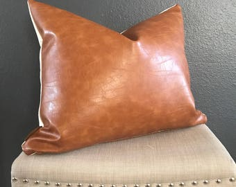 Caramel Custom Pillow Caramel Throw Pillow Handmade Caramel Pillow  Cover Faux Leather Pillow Cover