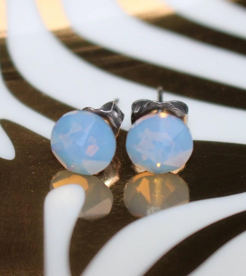 2c1af9c376e3 Air Blue Opal Swarovski Crystal Stud Earrings on Titanium