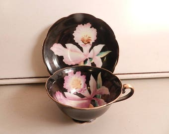 vintage hand painted china cup and saucer pink orchid design