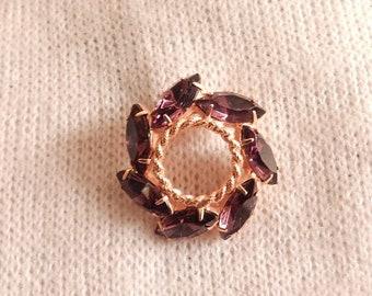 beautiful vintage gold tone purple rhinestone pin brooch