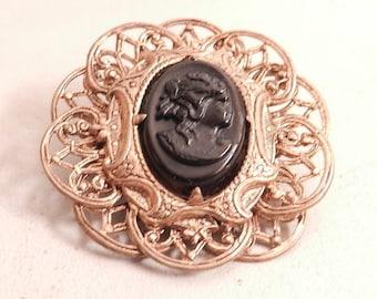 beautiful vintage  gold border black cameo brooch pin