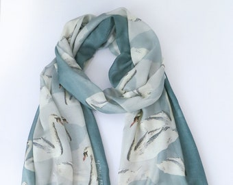 Pale Blue-Green-Ivory Swan Print Voile Scarf with Gift Wrap