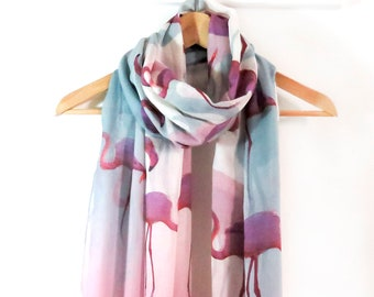 Flamingo print scarf with gift wrapping and card limited availability