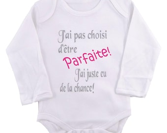 "Funny girl onesie ""I chose not to be perfect"""